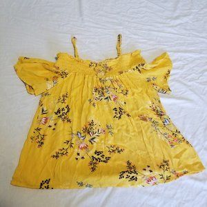 Small Lily White Yellow Cold Shoulder Blouse